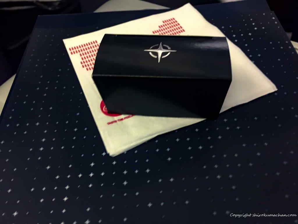 ユナイテッド航空のビジネスクラスwelcome gift