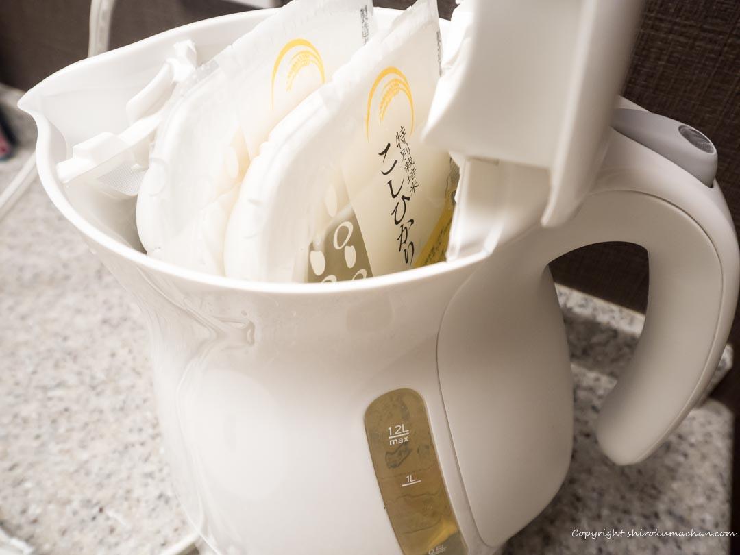電気湯沸かし器でレトルト食品-2