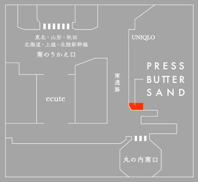 MAP PRESS BUTTER SAND SHOP IN TOKYO STATION