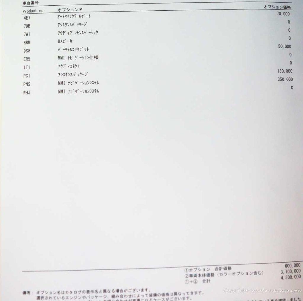 AUDI Q2オプション表