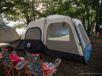 Mobile Projector Anker Nebula Capsule II in camping ground