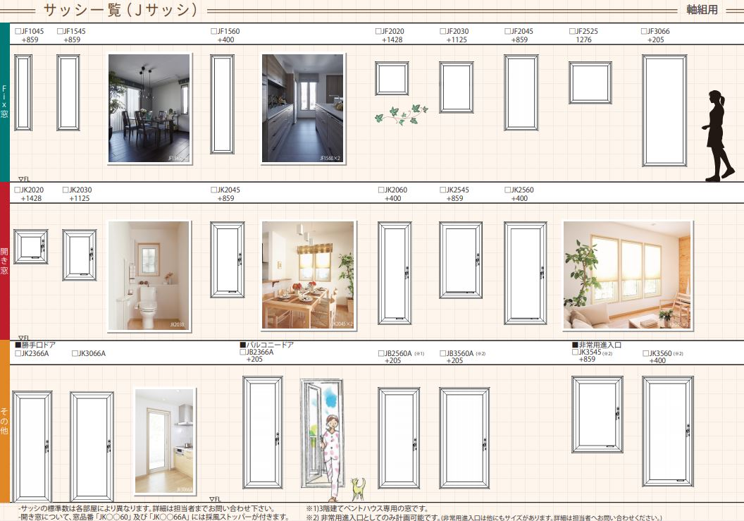 一条工務店窓 通常タイプ FIX 開き窓 ドア