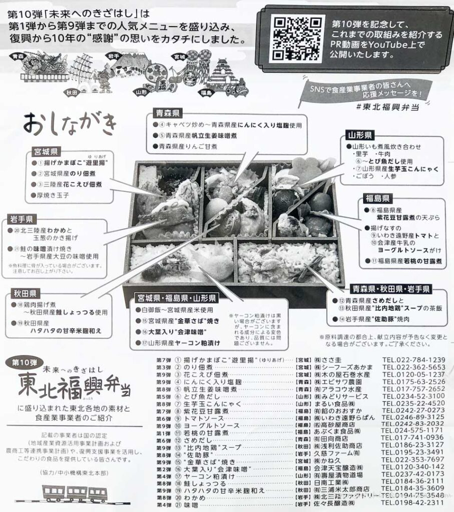 東北福興弁当-裏のメニュー表